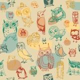 Owl seamless pattern on light background Royalty Free Stock Image