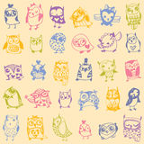 Owl seamless pattern on light background. Stock Photos