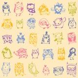 Owl seamless pattern on light background. Stock Photos