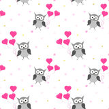 Owl seamless pattern. Valentines Day card design. Stock Images