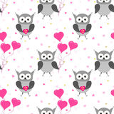 Owl seamless pattern. Valentines Day card design. Royalty Free Stock Photos