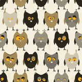 Owl seamless pattern. Vector background. Stock Photos