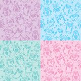 Owl seamless patterns Royalty Free Stock Photos