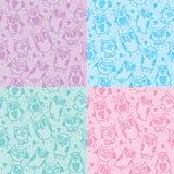 Owl seamless patterns Royalty Free Stock Photos