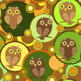Owl seamless texture Stock Photography