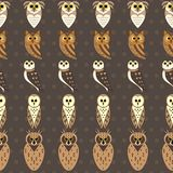 Owl Seamless Vector Pattern royalty free illustration