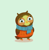 Owl. Seasons greeting card with hipster animal. Flat design illustration in vector. Autumn animal concept. For print, postcard, web, social media and t-shirt Stock Photos