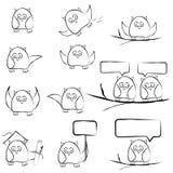 Owl set. Owl hand draw set vector illustration