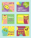 Owl set of birthday cards vector illustration. Welcome to my birthday. Make a wish. Cute cartoon wise birds with wings. Owl birthday cards vector illustration vector illustration