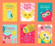 Owl set of birthday cards vector illustration. Welcome to my birthday. Make a wish. Cute cartoon wise birds with wings. Owl birthday cards vector illustration stock illustration
