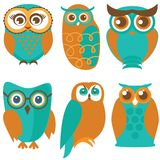 Owl set, cute owls and birds in orange , green colors Royalty Free Stock Images