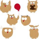 Owl. Set of funny owls Stock Photo