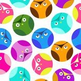 owl set multicolored pattern stock illustration