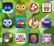 Owl set. 12 young owl birds. Cartoon baby drawing animal characters. Mobile application icons Royalty Free Stock Photo