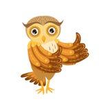 Owl Showing Thumbs Up Cute-Beeldverhaalkarakter Emoji met Forest Bird Showing Human Emotions en Gedrag Stock Fotografie