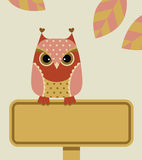 Owl with sign Stock Photos