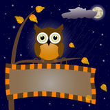 Owl and signboard. Royalty Free Stock Photo