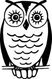 Owl. Simple black and white line drawing of an owl resting on a wire Stock Image