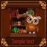 Owl sits on a bookshelf with scrolls and crystals. Wise owl sits on a bookshelf with scrolls and crystals, postcard in brown Royalty Free Stock Photography