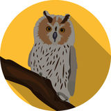 Owl sitting on branch on background of the moon round color icon. Illustration of a great horned owl on a branch silhouetting the full moon. Eps 10 Vector Stock Photo
