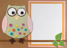 Owl sitting on branch with paper background. An Owl sitting on a branch with buttons, on a paper background with room for copy space stock illustration