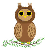 Owl sitting on branch on white background. Vector illustration Royalty Free Stock Images