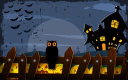 Owl sitting on fence in Halloween Night Royalty Free Stock Photography