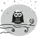 Owl sitting on the moon at night vector background Stock Images