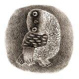 Owl Sitting In réuni par noir une cavité Photos stock