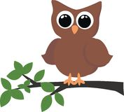 A owl sitting in a tree stock illustration