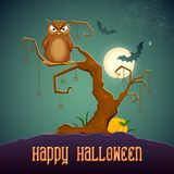 Owl sitting on tree in scary Halloween Night Royalty Free Stock Photo
