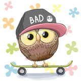 Owl with skateboard. Cute Owl with skateboard on a floral background Stock Photo
