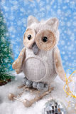 Owl on sledge  for christmas Royalty Free Stock Photo