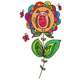 Owl sleep flower card Royalty Free Stock Photo
