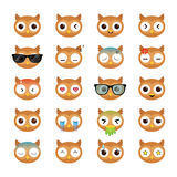 Owl smiling face icons set. Stock Photo