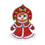Owl Snow maiden character Vector Watercolor Royalty Free Stock Images