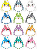 Owl Space Colorful Set Immagine Stock