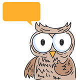 Owl with speech bubble Stock Images