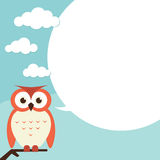 Owl with speech bubble Royalty Free Stock Photography
