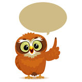 Owl with Speech Bubble stock illustration