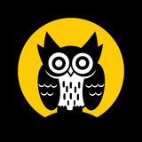 Owl. Standing on moon light background, vector graphic Royalty Free Stock Photos