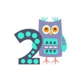 Owl Standing Next To Number två stiliserade det skraj djuret Royaltyfria Bilder