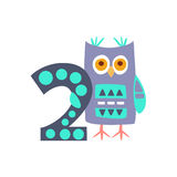 Owl Standing Next To Number två stiliserade det skraj djuret vektor illustrationer