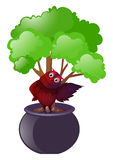 Owl standing under the tree. Illustration Royalty Free Stock Photography