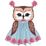 Owl in the style of shabby chic, boho, provence with lace patterns and roses flowers.  Stock Photos