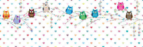 Owl style tree pastel flower banner. This illustration is design and drawing owl with stylish tree in banner size with colorful love decoration on white color royalty free illustration
