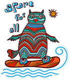 Owl surfing. Decorative painted owl surfing. Sport for all Stock Image