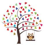 Owl Swinging royalty-vrije illustratie