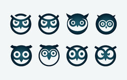 Owl Symbol Set. Vector circle based owl head symbol set Royalty Free Stock Photo