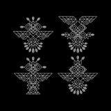 Owl Symbol tribal Símbolo adornado del búho en estilo tribal Elemento de la decoración del vintage Línea diseño del arte Elemento Fotografía de archivo libre de regalías